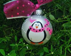 Penguin Ornament - Personalized Penguin with Pink Scarf - Handpainted Ornament - Christmas Ornament Glass Bauble