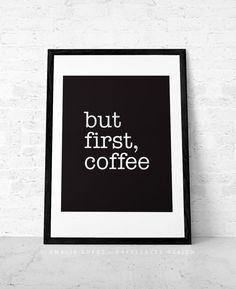 Minimal black and white coffee print ideal for any room in your home or office. Its a great present for any coffee lover like me!    The horizontal