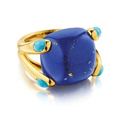 "Verdura ""candy ring"" (not vintage) Lapis, turquoise and gold."