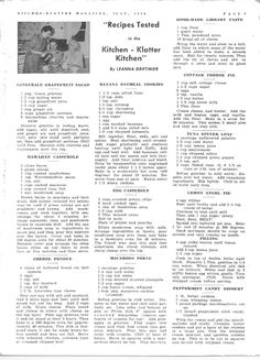 Kitchen Klatter Magazine, July 1950 - Gingerale Grapefruit Salad, Hawaiian Casserole, Cheese Fondue, Banana Oatmeal Cookies, Egg Casserole, Macaroon Torte, Home Made Library Paste, Cottage Cheese Pie, Tuna Dinner Loaf, Lemon Angel Pie, Peppermint Candy Dessert