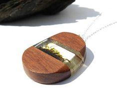 Holz-Harz-Moos-Kette, Harz Schmuck, Moos-Kette, Harz Holz Schmuck, Holz Anhänger, echtes Moos Schmuck, einzigartiges Geschenk, Wald Anhänger