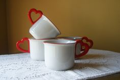Vintage Vandor Coffee Mugs, Heart Handles, Valentine, Anniversary, Love Mugs, Gift for Her, Gift for Friend, Red and White, Set of 4, 1978 by BrindleDogVintage on Etsy