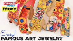 Make your Mark easy famous art jewelry Popsicle stick Craft Stick Crafts, Crafts To Make, Easy Crafts, Paper Crafts, Popsicle Stick Bracelets, Popsicle Sticks, Jewelry Crafts, Jewelry Art, Bead Loom Bracelets