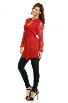 Rode Blouse met kant EB Plaza Fashion Online shop >http://www.emeralbeautylife.nl/