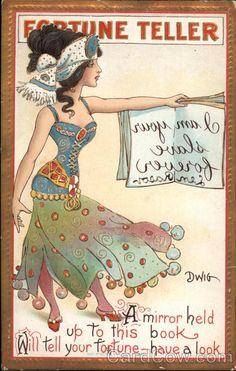 Vintage Fortune Teller - I am your slave forever Vintage Retro Circus Ad Art Poster Print Postcard ☮~ღ~*~*✿⊱ レ o √ 乇 ! Halloween Cards, Vintage Halloween, Halloween Eve, Halloween Artwork, Vintage Circus, Vintage Art, Vintage Gypsy, Gypsy Fortune Teller, Circo Vintage