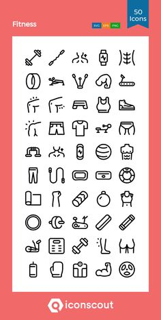 Fitness Icon Pack - 50 Line Icons Fitness Icon, Fitness App, Kid Games, Games For Kids, Png Icons, Anatomy Art, Icon Pack, Line Icon, Icon Font