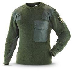 Used German Military Surplus Police Commando Sweater, Olive Drab