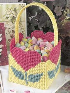 Plastic Canvas - Accessories - Decorations & Knickknacks - Sweetheart Basket - #FP00045