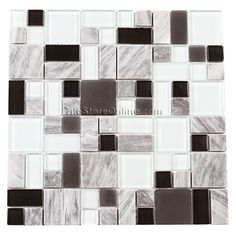 Glass and Stone Mosaic Tile - Pacifica Cristallo Pietra Glass Tile - Multi Size CPXHE82887 Cliffs Multi - Tumbled Marble, Glossy Glass and Frosted Glass