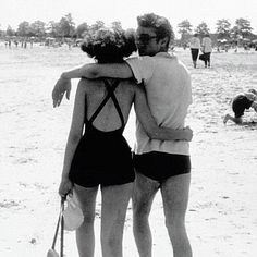 James Dean and his girlfriend, Barbara Glenn on a New York beach in the summer of 1953...