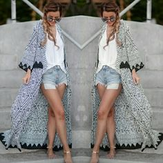 Blue & White Bohemian Gypsy Print Cardigan Duster New Arrivals  Ladies Don't Miss Out On This Beauty  Size Medium Blue & White Boho/Gypsy Duster Cardigan...Comment below if you'd like to be notified when additional sizes are available: Large & XL               No Trades Price Firm ✈✈Ships Between Friday & Monday✈✈ Sweaters Cardigans