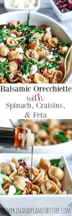 This Balsamic Orecchiette with Spinach, Craisins, & Feta is so easy to throw together and makes the perfect quick lunch or side dish!