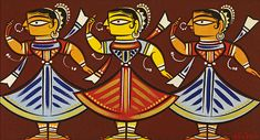 From Kalighat-style artworks to portraits and sketches, 71 creations by celebrated painter Jamini Roy are on view at his first solo European museum exhibition Famous Art Paintings, Indian Art Paintings, Madhubani Art, Madhubani Painting, Kalamkari Painting, Indian Folk Art, Indian Artist, Mural Painting, Fabric Painting