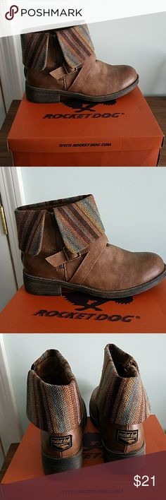 Super cute ❤❤ Brand new Man made. So cute. Brown ankle boot with fun plaid cuff. Never worn. Comes in original box. Size 11M.  Will ship fast. Rocket Dog Shoes Ankle Boots & Booties