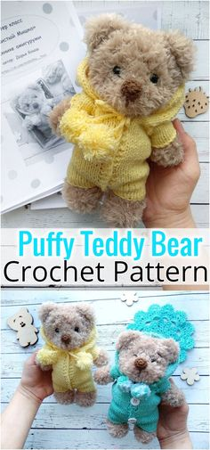 FREE crochet bear pattern Make your own teddy bear with this free amigurumi tutorial. To make this bear you need YarnArt Jeans yarn and mm crochet hook. Animal Knitting Patterns, Crochet Dolls Free Patterns, Stuffed Animal Patterns, Amigurumi Patterns, Stuffed Animals, Diy Teddy Bear, Teddy Bear Design, Teddy Bears, Crochet Bunny