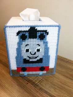 Thomas the Train on a Tissue Box Cover: Design Inspired by a Favorite Train Character - Handmade in Plastic Canvas and Acrylic Yarn