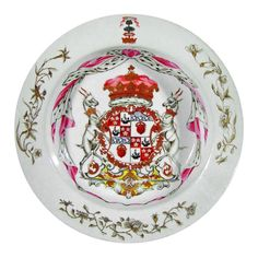 Chinese export armorial soup plate with the Arms of Hamilton  China c.1738
