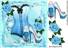 TURQ BASQUE WITH BLUE ROSES SHOES 8X8 on Craftsuprint - Add To Basket!