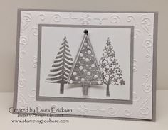 Festival of Trees Smoky Slate and Silver and #SU Tree punch ... Stamping to Share: Holiday Mini Swap Cards from Stamping to Share Part Two