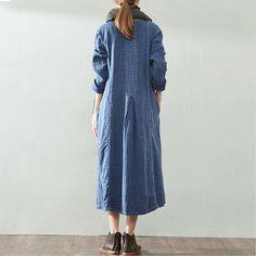 Retro Loose Cotton Linen Blue Dress