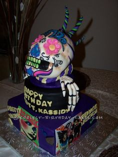 Cool Skull Cake with 70′s Zombie-Style Band Covers... Coolest Birthday Cake Ideas