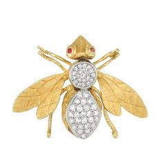 Gold diamond ruby insect brooch