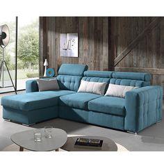 Canapé d'angle convertible bleu en tissu MIDNIGHT (10 couleurs au choix)