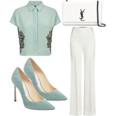 Untitled #4045 by evalentina92 on Polyvore featuring moda, Jaeger, Roland Mouret, Jimmy Choo and Yves Saint Laurent