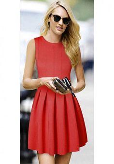 Red Plain Round Neck Sleeveless Cotton Blend Dress