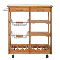 Kitchen Island Cart Rolling Storage Trolley Storage Drawer Shelves Durable Wood #KitchenIslandCart