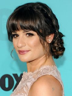Lea Michele's braided updo. #hair. http://www.ivillage.com/hair-inspiration-gallery-wedding-hairstyles-and-hairdos/5-b-294490#458876