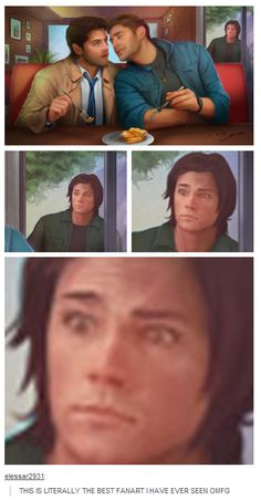 Supernatural fan art XD I CAN'T STOP LAUGHING!!! SAMMY!!! (He'd probably really react like  that, too...)