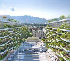 """O projeto arquitetônico """"Ecume des Ondes"""" transformará antigas ruínas romanas da cidade francesa de Aix-les-Bains (em Savoy) em um novo complexo multiuso de edifícios sustentáveis, com terraços em forma de ondas verdes. O projeto foi vencedor do concurso concorrendo com mais 5 projetos e é de autoria do escritório francês Vincent Callebaut Architectures. #arquitetura #architecture #arquiteturasustentavel #sustentabilidade #greenbuilding"""