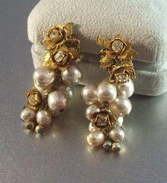Vintage Miriam Haskell Earrings Baroque Pearl by LynnHislopJewels