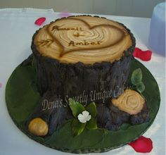 tree stump base. This would be a neat cake… engagement party maybe?