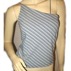 DEREK HEART Woman BLUE Angle Stripes One-Shoulder Sleeveless Clubwear TOP $29.98 BUY NOW at   http://stores.ebay.com/Tropical-FEEL