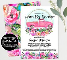 Quarantine SHOWER - Drive By Baby or Bridal Shower Parade - Pink Floral Truck Drive By Invitations - Digital Invites - Social Distance Digital Invitations, Baby Shower Invitations, Party Invitations, Invites, Baby Shower Host, Baby Shower Parties, Baby Showers, Bridal Shower Treats, Baby Shower Decorations For Boys