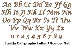 """'Lucida Calligraphy' Full Alphabet and & Numbers Set - 6"""" Tall, 8mm Thick - Upper Case, Lower Case Plus Matching Numbers 0-9 by Greg Ledder http://www.amazon.co.uk/dp/B00J65FXQQ/ref=cm_sw_r_pi_dp_3vLjvb0VHWN2S"""