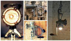 Tem um moedor antigo parado na cozinha? Transforme-o em uma luminária de mesa ou lustre!