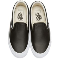Vans Black OG Classic LX Slip-On Sneakers (€46) ❤ liked on Polyvore featuring shoes, sneakers, leather slip on sneakers, black slip-on shoes, black slip-on sneakers, black shoes and leather slip on shoes