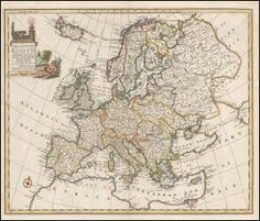 "Europe antique map original. This beautiful vintage map of Europe comes from Navigantium by John Harris printed by E. Bowen in London in 1748. This historic old map of Europe measures 18"" x 14"" and has vivid hand coloring printed on one side only."