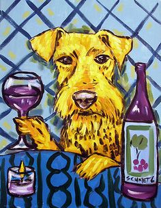 AIREDALE TERRIER wine painting pet dog art print 8x10