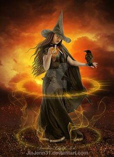 Fantasy Witch, Witch Art, Fantasy Art, Vintage Halloween, Fall Halloween, Halloween Witches, Witch Pictures, Beautiful Witch, Kobold
