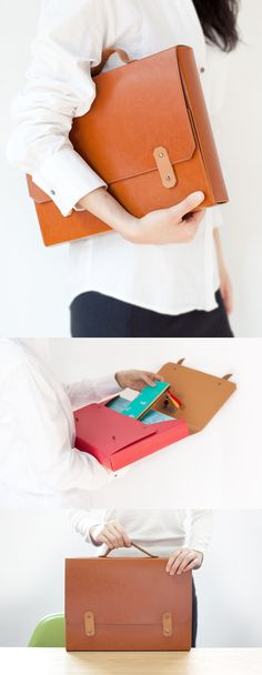 Love this fashionable briefcase for work! Perfect for storing everything you need at the office: planners, folders, laptop, phone, and more! Who says corporate can't be adorable...Available in 6 fun colors at mochithings.com