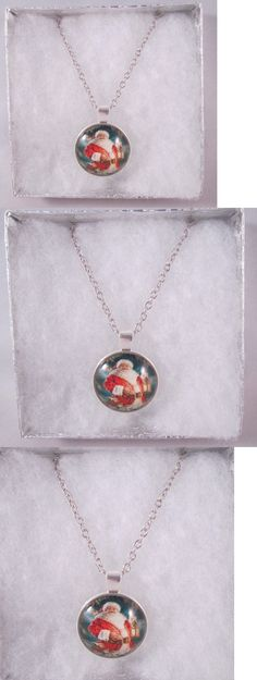 Christmas Gift Ideas: Santa Clause 18 Pendant Silver Tone Chain Necklace In Gift Box Christmas BUY IT NOW ONLY: $7.99
