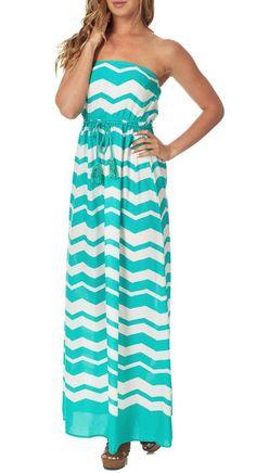 Mint Green & White Chevron Strapless Maxi Dress