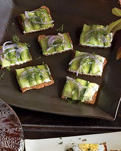 The menu at your afternoon get-together need not be fussy. Whole-grain crackers stand in for traditional tea sandwiches, and tangy goat cheese and cucumber are a healthy topping.
