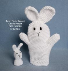 Bunny Puppet free crochet pattern - Free Easter Crochet Patterns - The Lavender Chair Easter is almost here. Isn't that crazy? I feel like Christmas was just the other day! It's time to start making some awesome easter crochet patterns Crochet Gratis, Crochet Dolls, Crochet Yarn, Hand Crochet, Scrap Crochet, Glove Puppets, Hand Puppets, Finger Puppets, Crochet For Kids