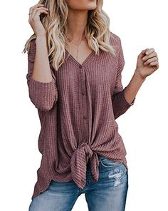 a2c348e284 Womens Waffle Knit Tunic Blouse Tie Front Knot Henley Tops Loose Long Sleeve  V Neck Button Down Bat Wing Plain Shirts