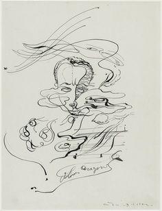 """André MASSON, """"Portrait de Louis Aragon"""", 1923 - Encre de chine et mine graphite sur papier, 32,1 x 24,5 cm, Paris, Centre Pompidou, musée national d'Art moderne / Centre de création industrielle"""